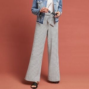 Anthro Maeve Charlemagne Gingham Wide Leg Pants